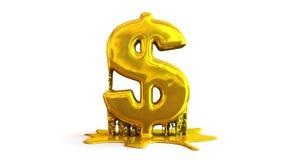 ejemplo 3D de la fusión del símbolo del dólar Imagenes de archivo