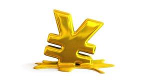 ejemplo 3D de la fusión del símbolo de los yenes Fotos de archivo libres de regalías