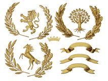 ejemplo 3D de la heráldica Un sistema de objetos Las ramas de olivo de oro, roble ramifican, las coronas, león, caballo, árbol libre illustration