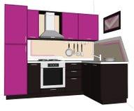 ejemplo 3D de la lila brillante y de la cocina de la esquina marrón con construido en el refrigerador aislado Imágenes de archivo libres de regalías