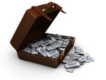 Maleta por completo de dinero Imagen de archivo libre de regalías