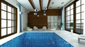 ejemplo 3D de la piscina con área moderna del salón Imagen de archivo