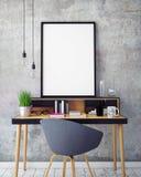ejemplo 3D de la plantilla del marco del cartel, mofa del espacio de trabajo para arriba,