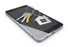 ejemplo 3d de la plantilla móvil del app Propiedades inmobiliarias que reservan el app en la pantalla del smartphone Imagenes de archivo