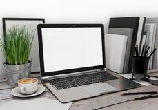 ejemplo 3D de la plantilla moderna del ordenador portátil, mofa del espacio de trabajo para arriba, fondo Imagen de archivo libre de regalías