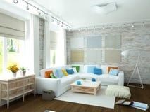 ejemplo 3D de la sala de estar blanca moderna Fotografía de archivo