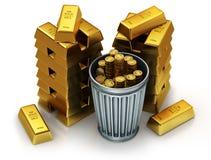 ejemplo 3d de las barras de un oro en una parte posterior del blanco y de los bitcoins en un bote de basura Imágenes de archivo libres de regalías