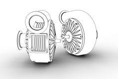 ejemplo 3D de las bombas de turbo Foto de archivo