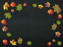 ejemplo 3d de las hojas de otoño en un consejo escolar Foto de archivo
