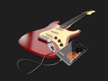 ejemplo 3d de las lecciones en línea de la guitarra Concepto musical del app Foto de archivo