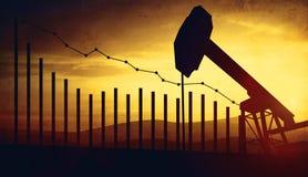 ejemplo 3d de los enchufes de la bomba de aceite en fondo del cielo de la puesta del sol con analytics financiero Concepto de pre Imagen de archivo