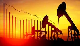 ejemplo 3d de los enchufes de la bomba de aceite en fondo del cielo de la puesta del sol con analytics financiero Concepto de pre Fotos de archivo libres de regalías