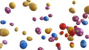 ejemplo 3D de los huevos de Pascua que caen en un fondo blanco ilustración del vector