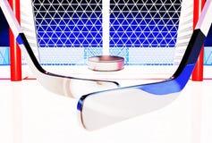 ejemplo 3d de los palillos y del duende malicioso de hockey en la pista de hielo Foto de archivo libre de regalías