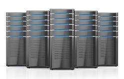 ejemplo 3D de los servidores del puesto de trabajo de la red Fotografía de archivo libre de regalías