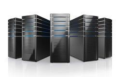 ejemplo 3D de los servidores del puesto de trabajo de la red Foto de archivo