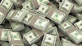 ejemplo 3D de muchas cubiertas del dinero 100 dólares stock de ilustración