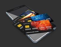 ejemplo 3d de Smartphone con la tarjeta de crédito Símbolo en línea de las compras, negro aislado Foto de archivo libre de regalías