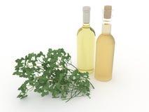 ejemplo 3d de un aceite vegetal en botellas y perejil en un fondo blanco Fotos de archivo