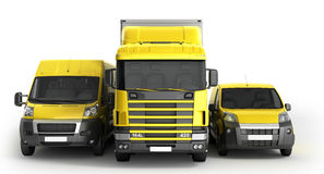 ejemplo 3D de un camión una furgoneta y un camión contra un CCB blanco Fotos de archivo