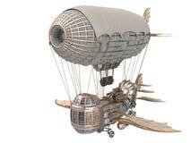 ejemplo 3d de un dirigible de la fantasía en estilo del steampunk en fondo blanco aislado Fotos de archivo libres de regalías