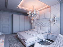 ejemplo 3D de un dormitorio sin color y texturas Fotografía de archivo libre de regalías