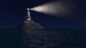 ejemplo 3d de un faro viejo en la noche Imagen de archivo
