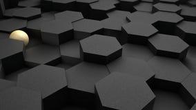 ejemplo 3D de un fondo de muchos hexágonos negros y bola azul, esfera La idea del negocio, de la riqueza y de la prosperidad, a stock de ilustración