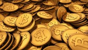 ejemplo 3D de un grupo grande de Bitcoins de oro stock de ilustración
