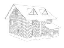 ejemplo 3d de una casa de dos pisos de la cabaña Dibujo lineal Paredes de bloques Fotos de archivo