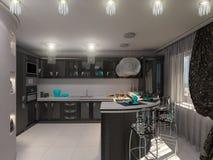 ejemplo 3D de una cocina en estilo de un art déco Foto de archivo