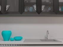 ejemplo 3D de una cocina en estilo de un art déco Imagen de archivo libre de regalías
