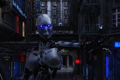 ejemplo 3D de una escena urbana futurista con el Cyborg libre illustration