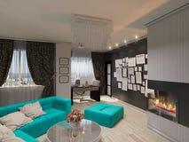 ejemplo 3D de una sala de estar en estilo de un art déco Fotos de archivo
