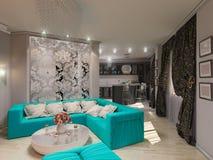 ejemplo 3D de una sala de estar en estilo de un art déco Imagen de archivo libre de regalías