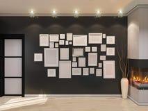ejemplo 3D de una sala de estar en estilo de un art déco Chimenea angular postal Fotos de archivo