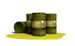 ejemplo 3d del arma química en los barriles aislados en blanco Imagen de archivo
