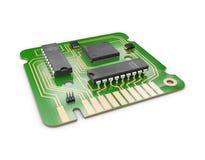 ejemplo 3d del chip de ordenador y del transistor Diseño de chip de ordenador con un circuito de la red stock de ilustración