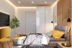 ejemplo 3d del concepto de diseño interior del dormitorio en estilo escandinavo ilustración del vector
