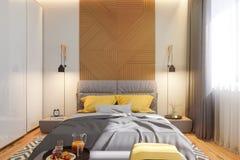 ejemplo 3d del concepto de diseño interior del dormitorio en scandinavi stock de ilustración