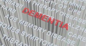 ejemplo 3D del concepto de la DEMENCIA La DEMENCIA de la palabra en el color rojo colocado sobre el texto de Grey Colour libre illustration