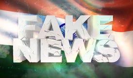 ejemplo 3D del concepto falso de las noticias con la bandera del fondo de la India stock de ilustración