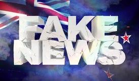 ejemplo 3D del concepto falso de las noticias con la bandera del fondo de Nueva Zelanda stock de ilustración
