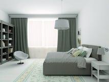 ejemplo 3D del dormitorio clásico en colores grises Fotos de archivo