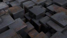 ejemplo 3D del extracto, fondo futurista de muchos diversos cubos del tamaño representación 3d de formas geométricas libre illustration
