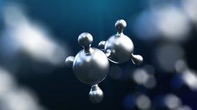 ejemplo 3D del fondo abstracto de la molécula del metal plateado stock de ilustración
