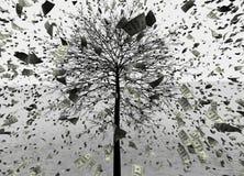 ejemplo 3D del fondo de la lluvia de USD/Dollar, usd que saltan del árbol ilustración del vector