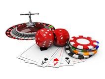 ejemplo 3d del fondo del casino con los dados, las tarjetas, la ruleta y los microprocesadores Fotos de archivo