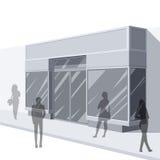 ejemplo 3D del frente de la tienda con los compradores stock de ilustración