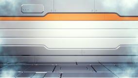 ejemplo 3d del interior criogénico del pasillo de la granja del congelador de la ciencia ficción stock de ilustración
